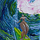 Acrylic painting Tiny surf goddess gem 5x7 a by Pamela Neswald