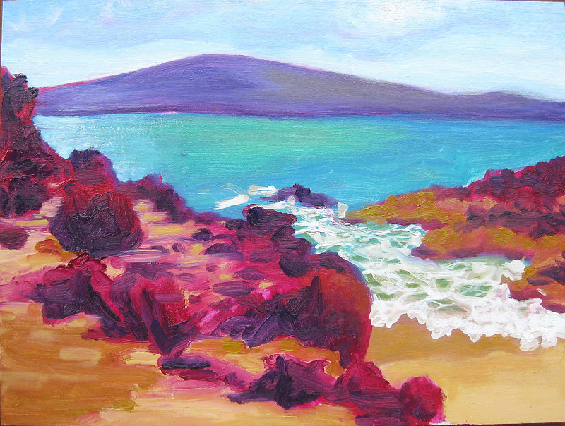 Oil painting Secret Beach  by Pamela Neswald