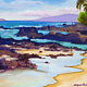 Oil painting Secret Beach Morning Colors by Pamela Neswald