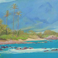 Oil painting Three Palms with Naupaka  by Pamela Neswald