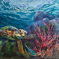 Watercolor Sea Turtle  by Betty Ann  Medeiros
