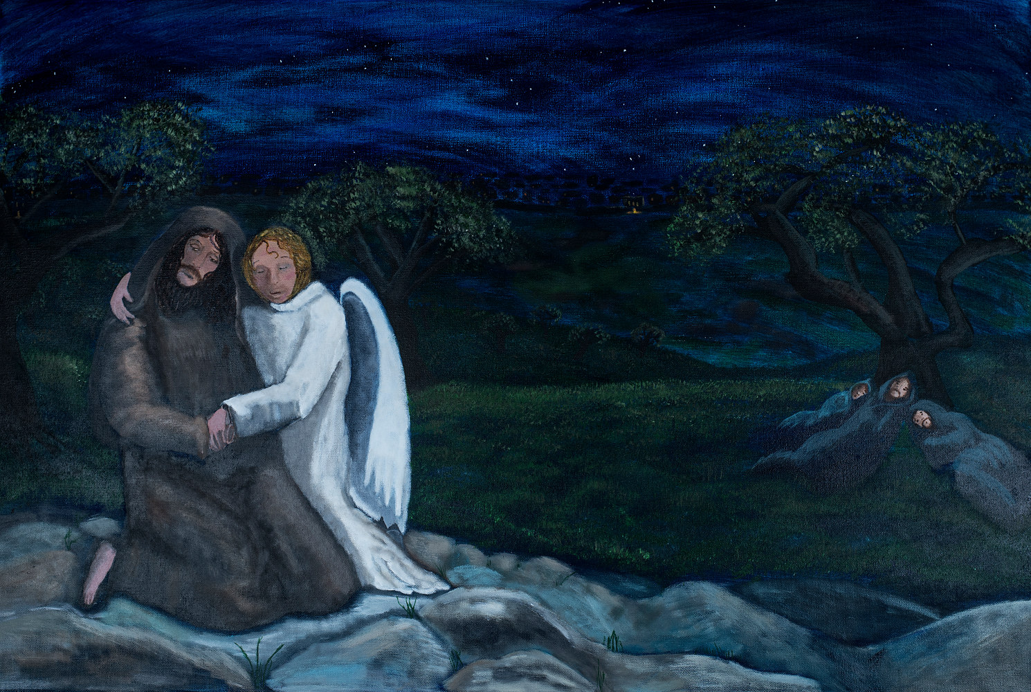 Acrylic painting The Night that Was Different From All Other Nights - Gethsemane by Denise Gracias