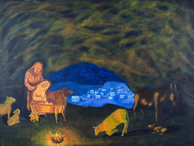 Acrylic painting Silent Night Holy Night by Denise Gracias