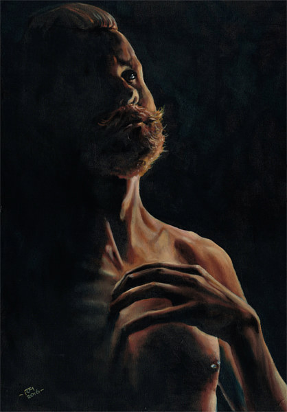 Oil painting Study of John for the Emperors New Clothes by Richard Mountford
