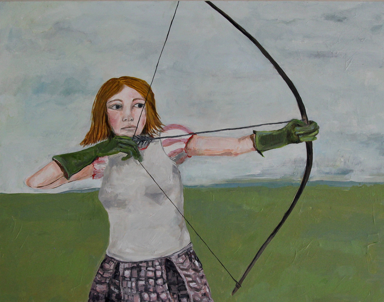 Oil painting maiden with a bow by Katherine Bennett