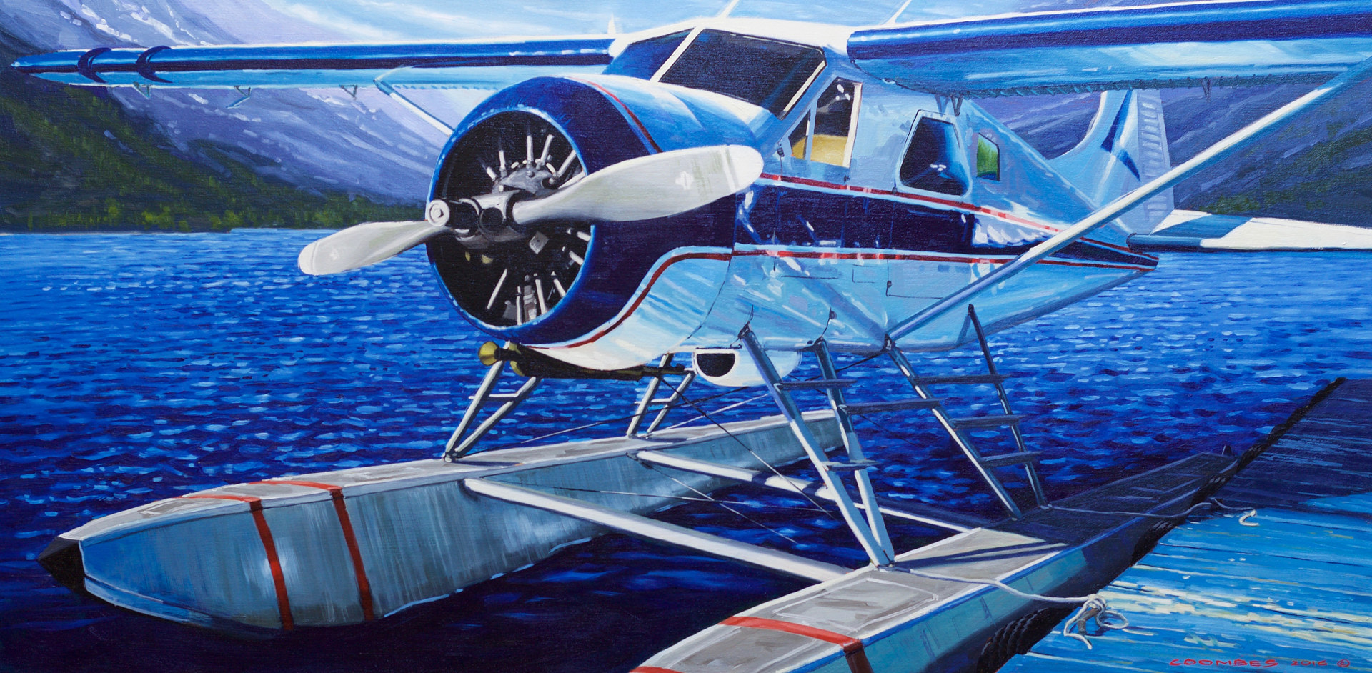 Oil painting Blue Bird on a BC Lake 48x24 oil by Bryan  Coombes