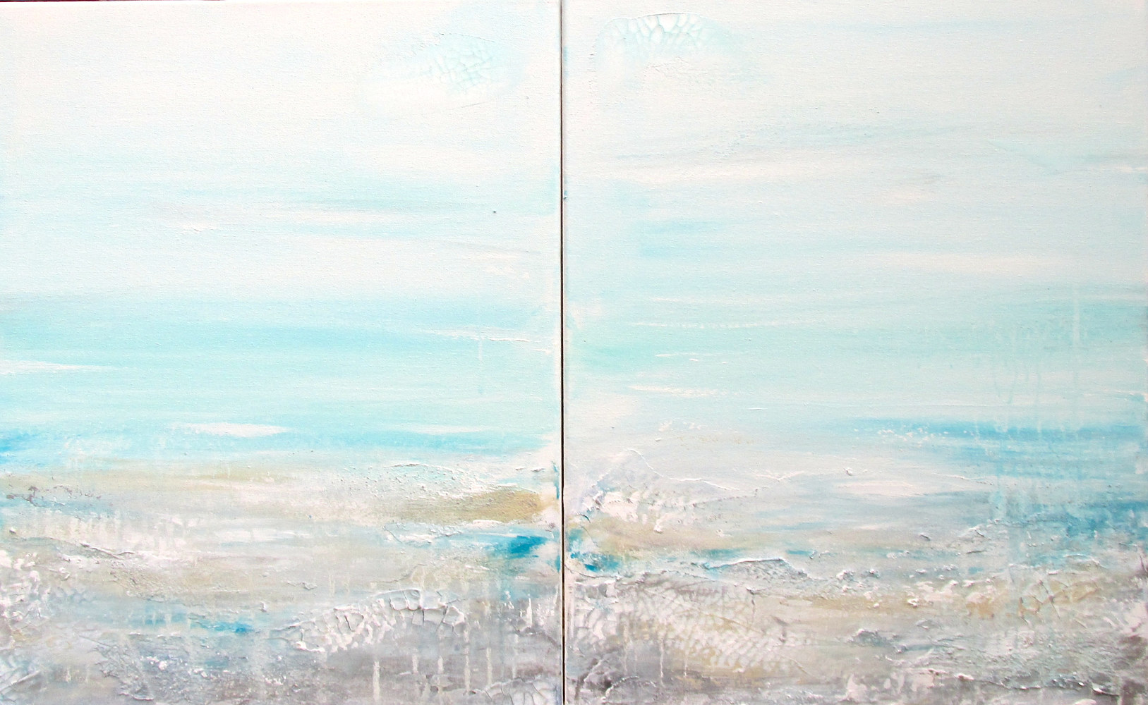 Acrylic painting Textured Seascape 3 by Laura Spring