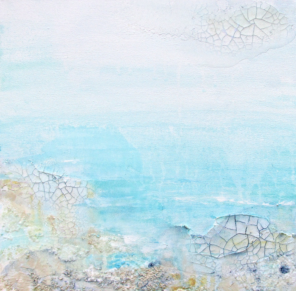 Acrylic painting Textured seascape 2 by Laura Spring