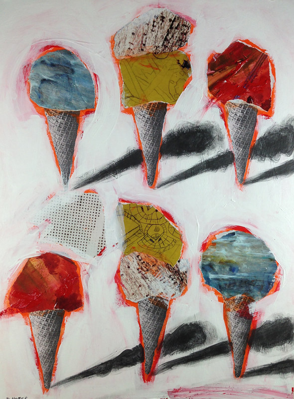 Acrylic painting Six Cones 6 by Deirdre  Hofer