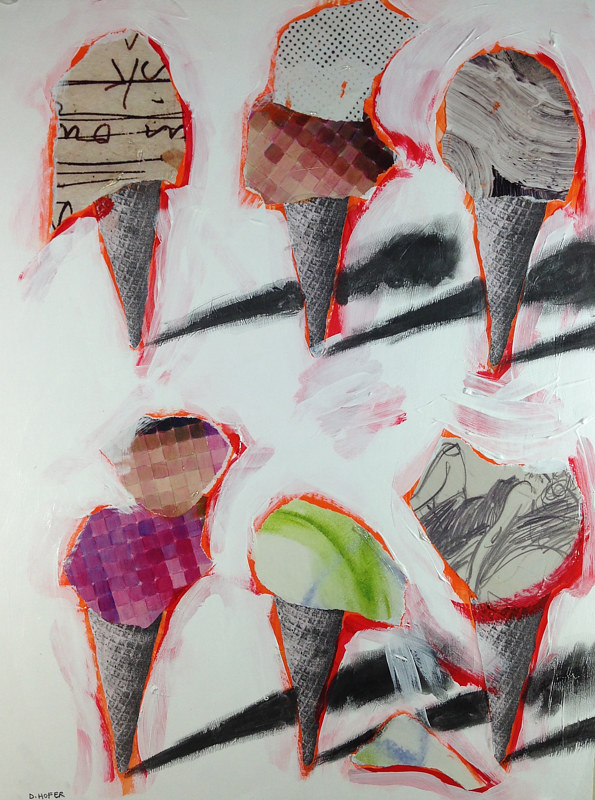 Acrylic painting Six Cones 7 by Deirdre  Hofer
