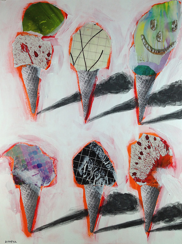 Acrylic painting Six Cones 8 by Deirdre  Hofer