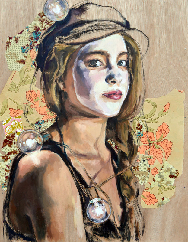 Oil painting Women in Marquee Lights: Avital, 2016 by Liza Montgomery