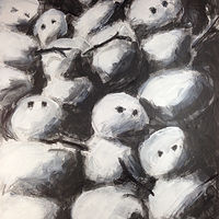 Acrylic painting Snowmen 1 by Deirdre  Hofer