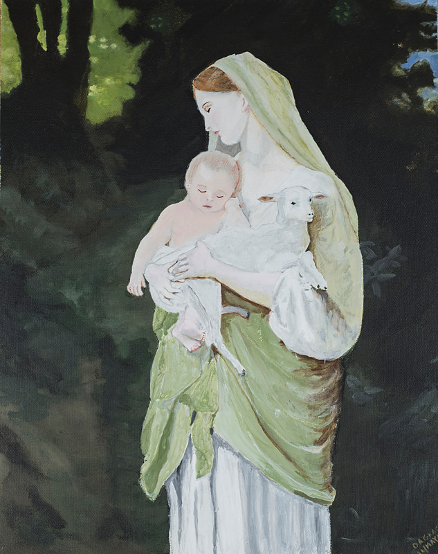Acrylic painting Innocence by William-Adolphe Bouguereau by Denise Gracias