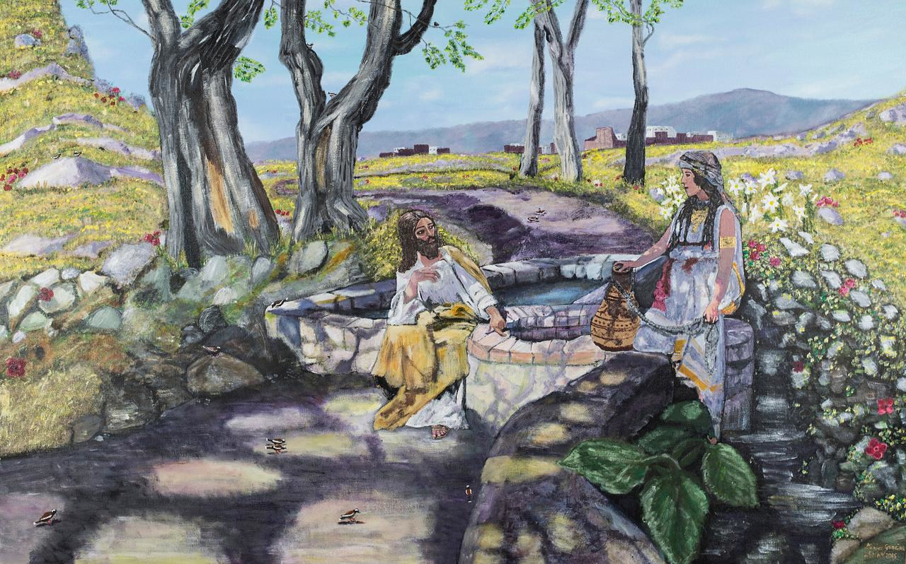 Acrylic painting The Woman at the Well by Henryk Siemiradzki by Denise Gracias