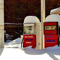 snowy gas by Lisa Kane