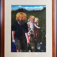 Drawing Blueberry Picking in Oregon-12x16 by Frans Geerlings