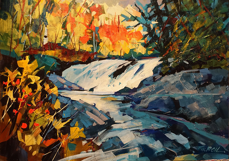 Autumn River Algonquin  Acrylic 18x24 2016 by Brian  Buckrell