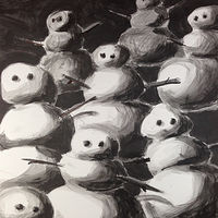 Acrylic painting Snowmen 3 by Deirdre  Hofer