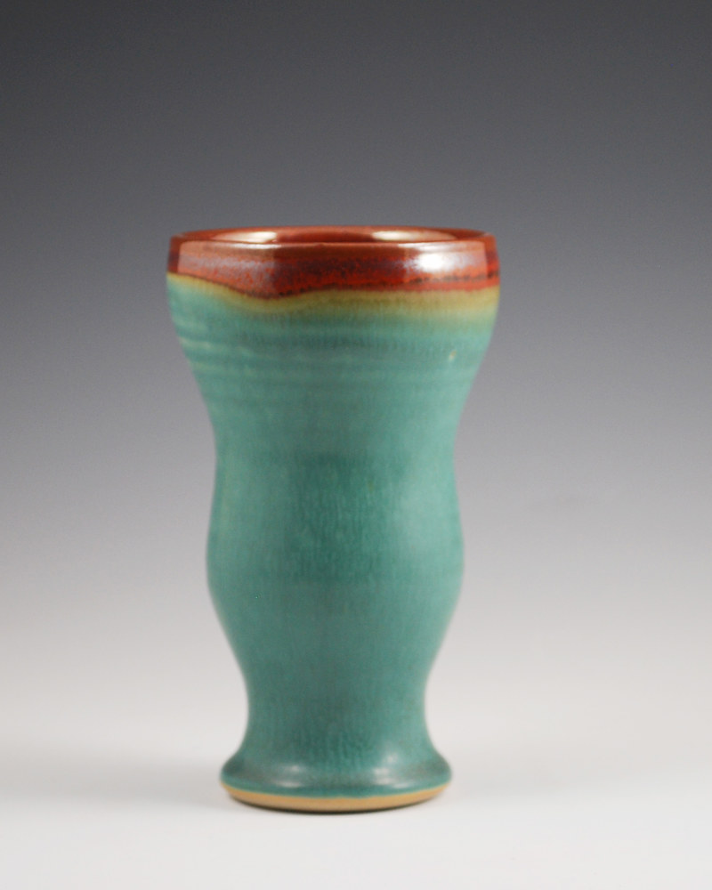 Turquoise Stone Cup with Rust Red Rim by Mark  Goertzen