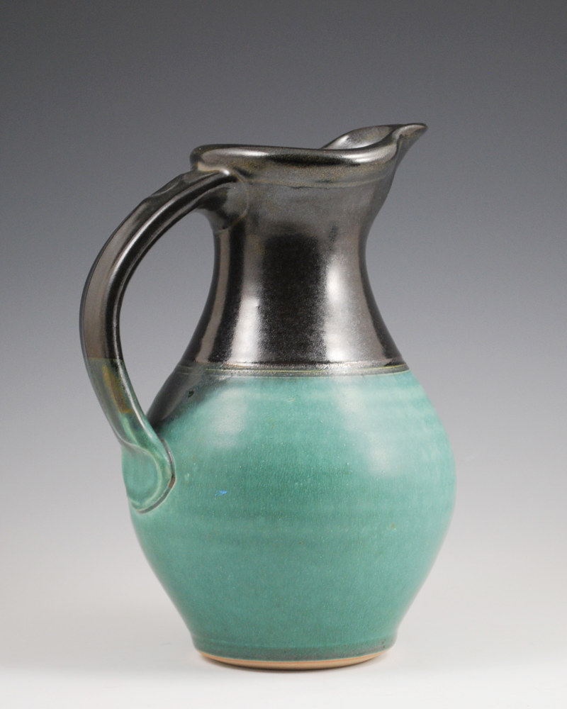 Turquoise Stone Pitcher with Black on Top by Mark  Goertzen