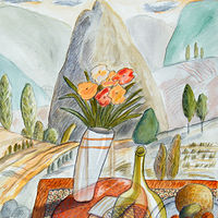 Acrylic painting Still Life With Small Mountain by Trevor Pye