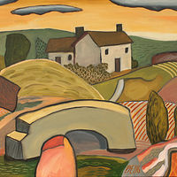 Acrylic painting Dwelling in Landscape With Ambiguous Elements by Trevor Pye