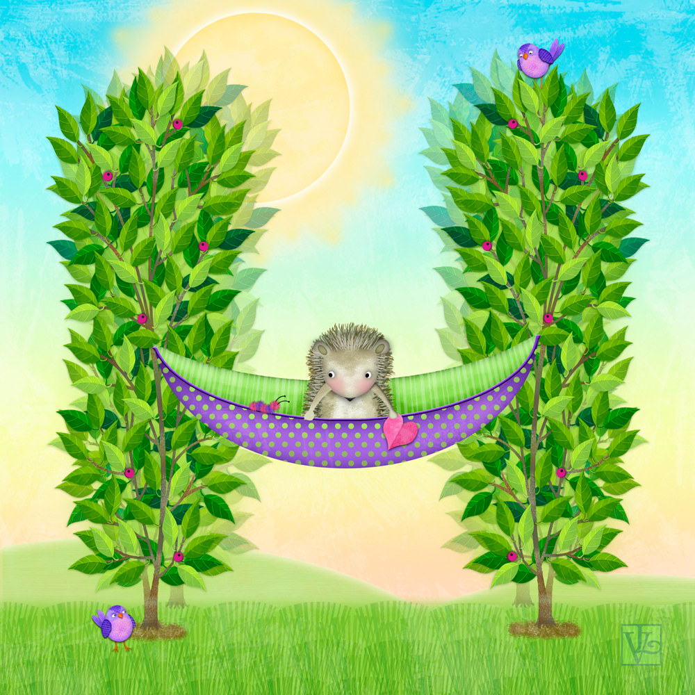 H is for Hedgehog in a Hammock  by Valerie Lesiak