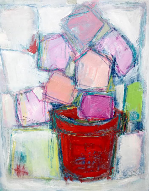 Acrylic painting Red Pot by Sarah Trundle