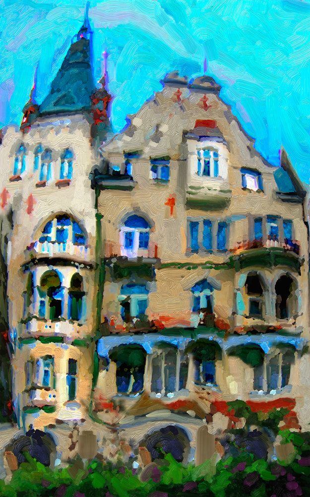 Watercolor Karlovy Vary Apartment House by Bernard Dick