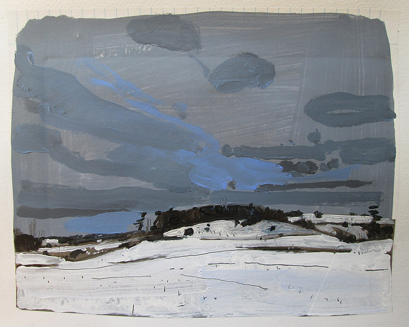 Acrylic painting Christmas Eve, On Lost Dog Hill by Harry Stooshinoff