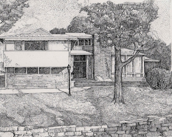Drawing Contemporary House on Lake Michigan by Joel Abramson