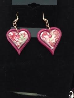 Painting Heart polymer earrings by June Long-schuman