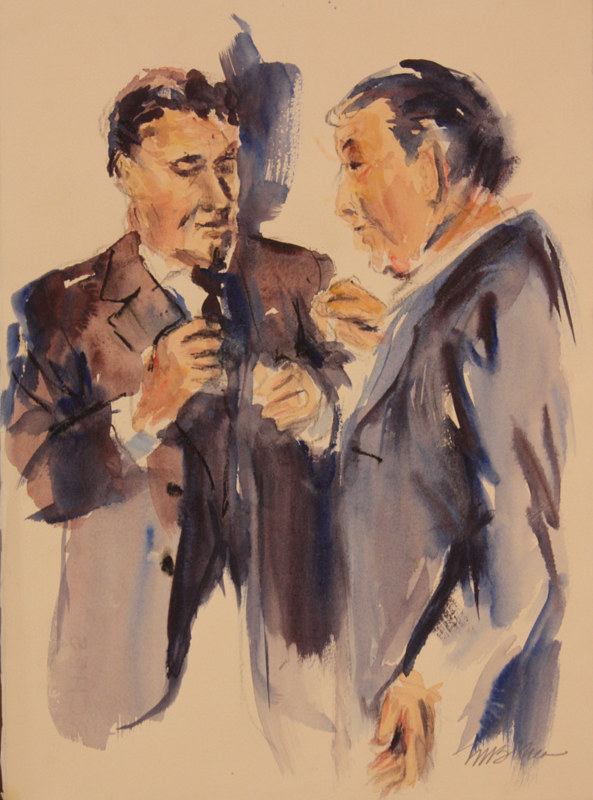 Watercolor two old men  by Madeline Shea