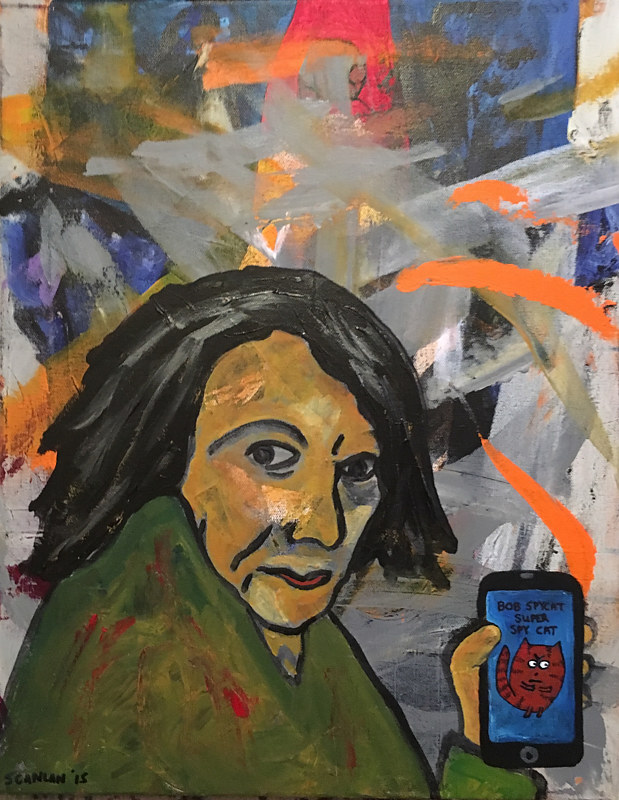 Acrylic painting Woman at the Bus Stop with her Iphone by Bernard Scanlan