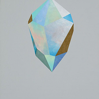 Acrylic painting Rebecca Chaperon - Gold Crystal 60 by Julie Gladstone