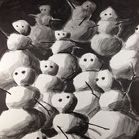 Acrylic painting Snowmen 5 by Deirdre  Hofer