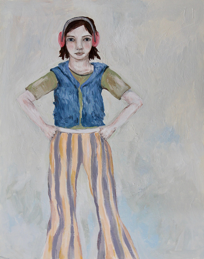 Oil painting girl with headphones by Katherine Bennett