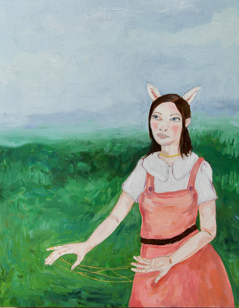 Oil painting maiden in a field by Katherine Bennett