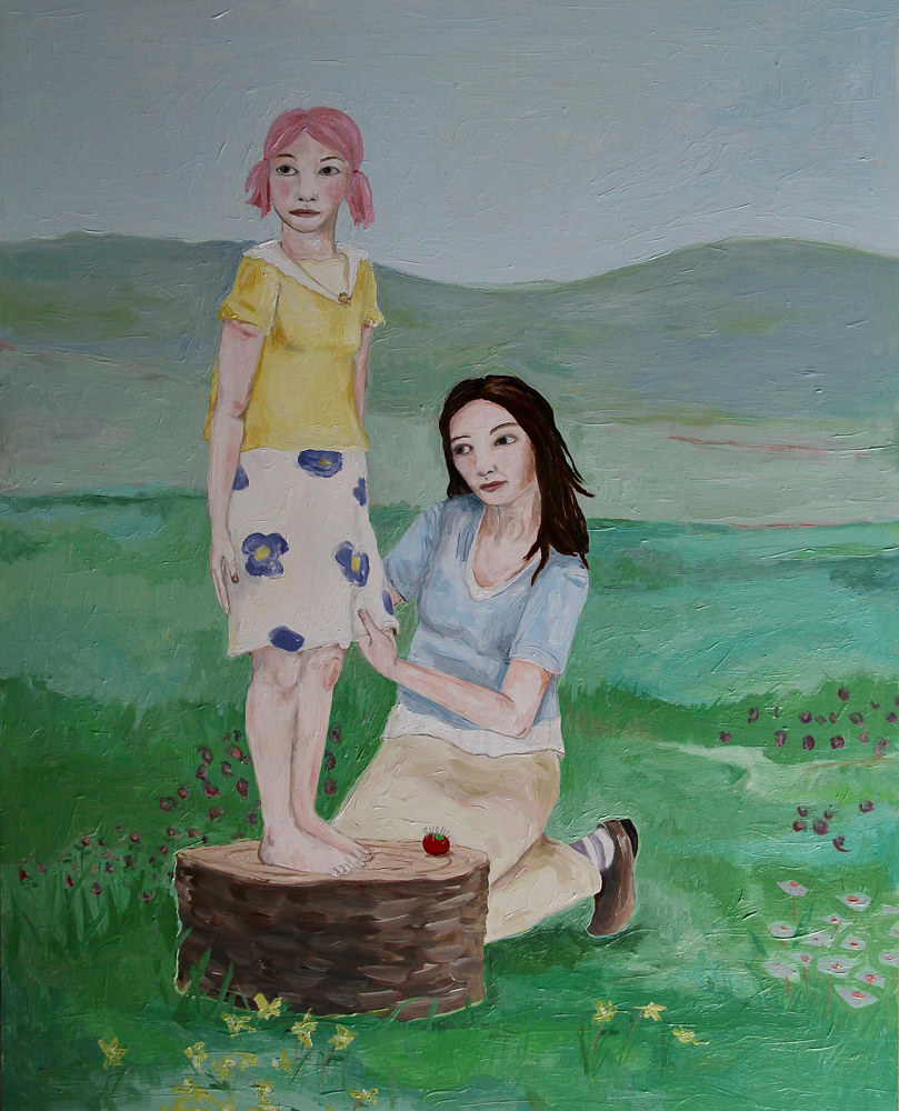Oil painting mother and daughter by Katherine Bennett