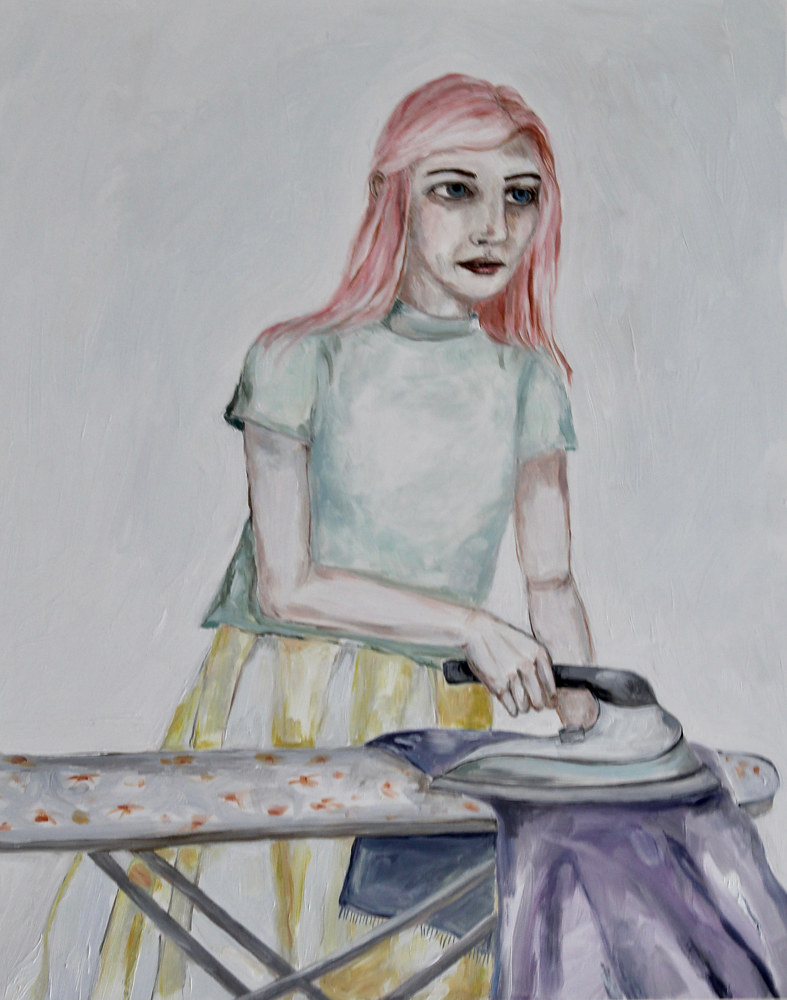 Oil painting dreamer ironing by Katherine Bennett