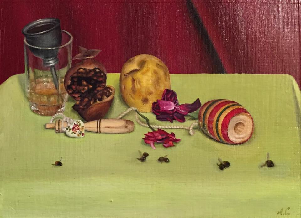 Acrylic painting MAYBE ONE DAY WE CAN EAT AND DRINK MONEY by Arthur Carrillo