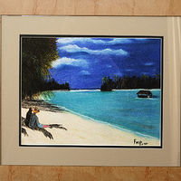 Lagoon at Cook Islands-11x15 by Frans Geerlings