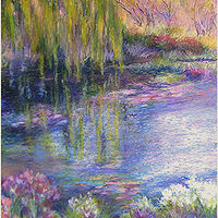 Oil painting Willow reflection 2 by Karen Spears