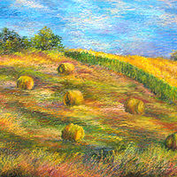 Oil painting Summer fields by Karen Spears