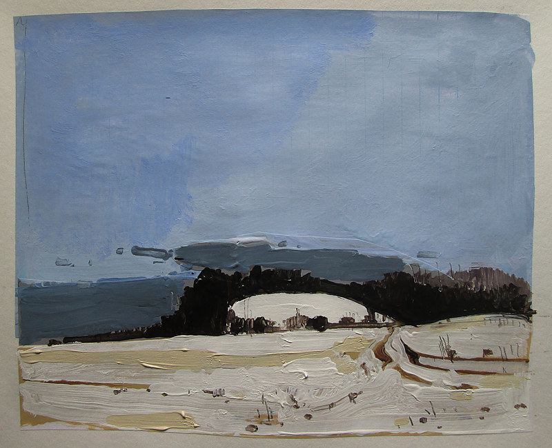 Acrylic painting Little Hill, January 16 by Harry Stooshinoff