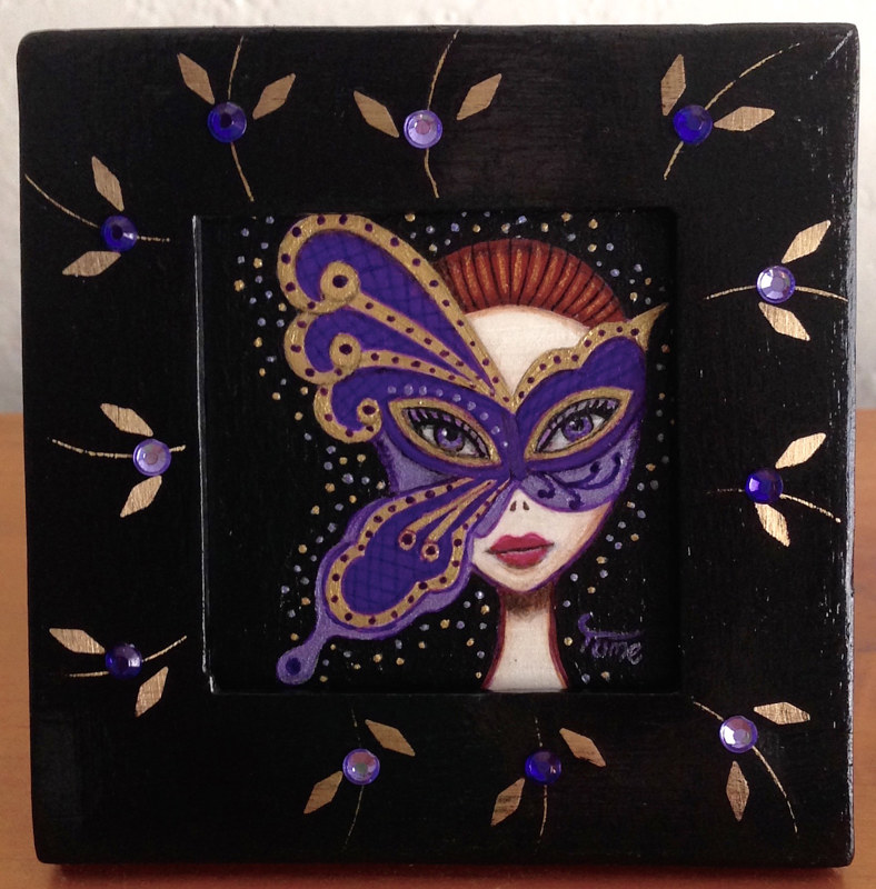 Acrylic painting Masquerade by Yumi Knight