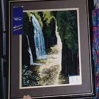 Waterfall on Gold by Mary Lee Chisholm-morgan
