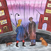 Acrylic painting People Walking Dogs in Minneapolis by Bernard Scanlan
