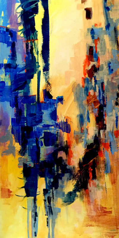"Acrylic painting Blue Canyon II, 36"" X 18"" by Skai Fowler"